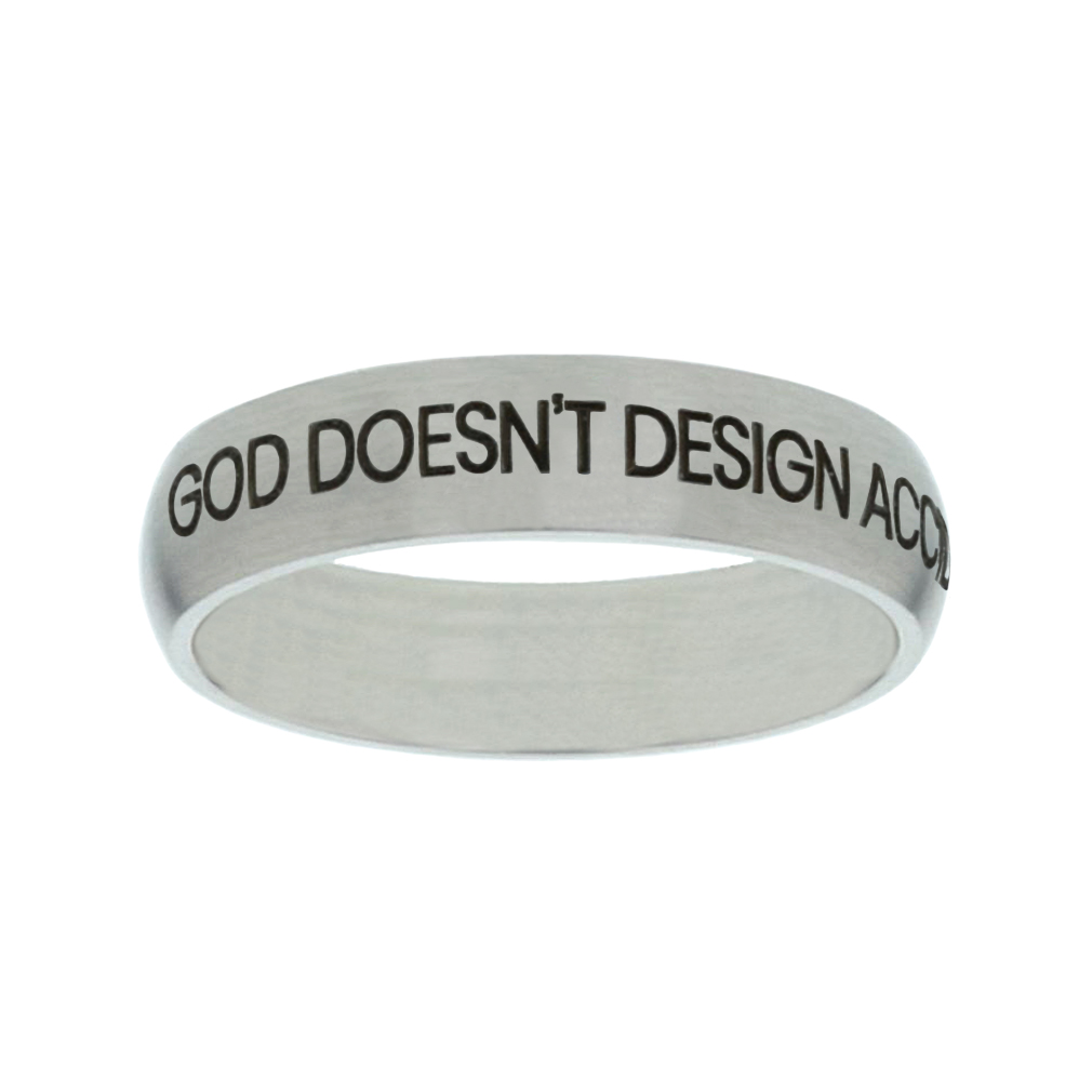 God Doesnt Design Accidents, He Creates Purposes Matte Narrow Silver Ring christian jewelry,christian ring,matte narrow silver ring,womens ring,christian womens ring