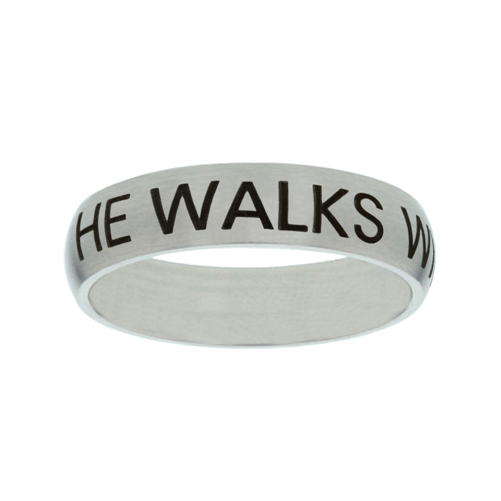 He Walks With Me Matte Narrow Silver Ring christian jewelry,christian ring,matte narrow silver ring,womens ring,christian womens ring