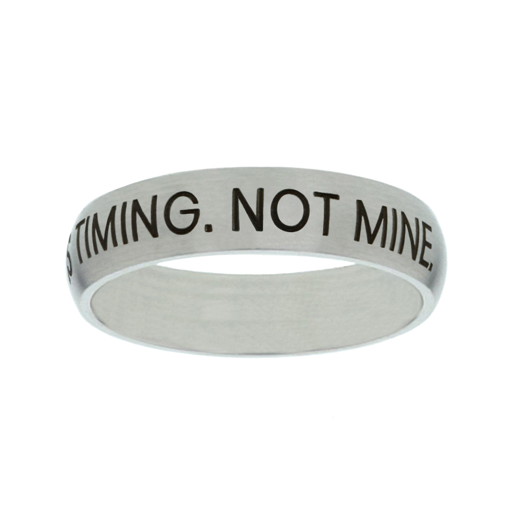 His Timing. Not Mine. Matte Narrow Silver Ring - FP-RNGF-HTNM