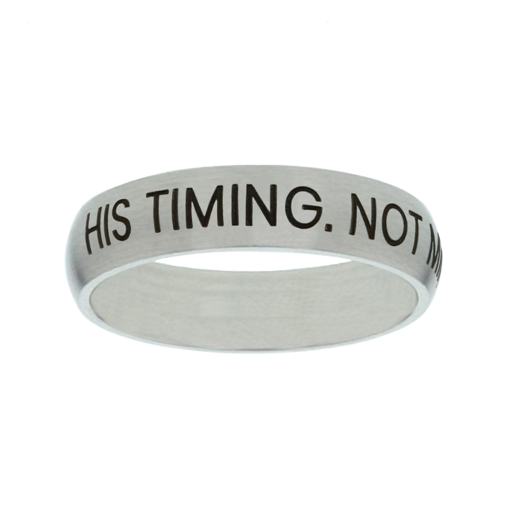His Timing. Not Mine. Matte Narrow Silver Ring christian jewelry,christian ring,matte narrow silver ring,womens ring,christian womens ring