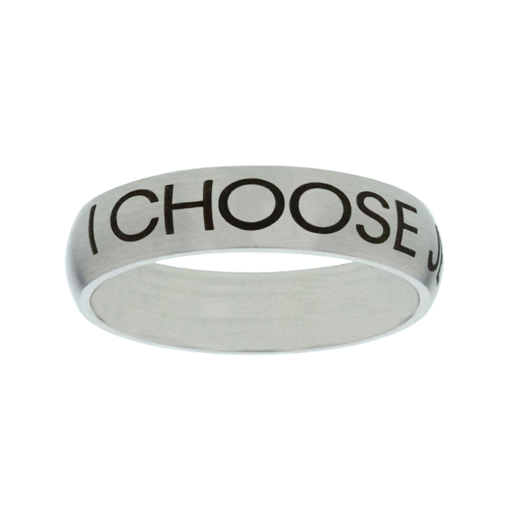 I Choose Jesus Matte Narrow Silver Ring christian jewelry,christian ring,matte narrow silver ring,womens ring,christian womens ring