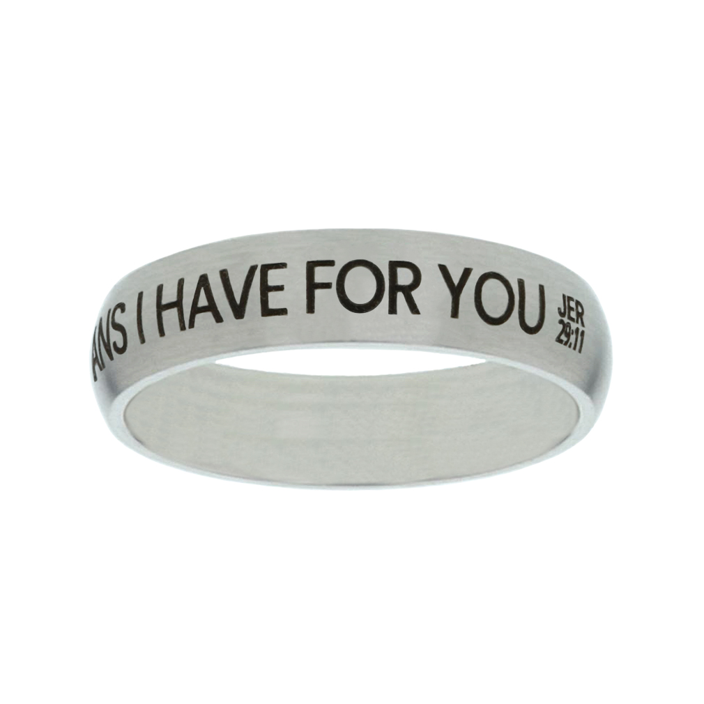 I Know the Plans I Have For You Matte Narrow Silver Ring - LDP-RNGF-IKPLN