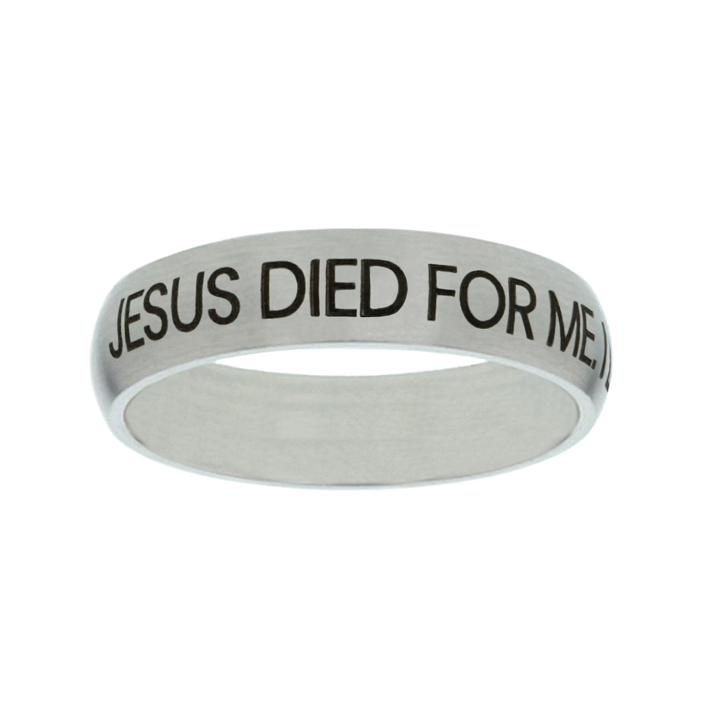 Jesus Died for Me, I Live for Him Matte Narrow Silver Ring christian jewelry,christian ring,matte narrow silver ring,womens ring,christian womens ring