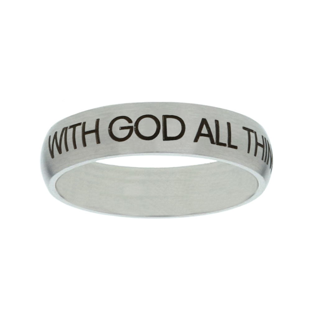 With God All Things Are Possible Matte Narrow Silver Ring christian jewelry,christian ring,matte narrow silver ring,womens ring,christian womens ring