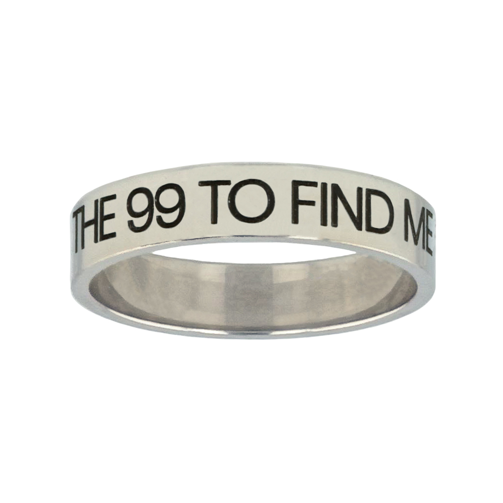 He Left the 99 to Find Me Silver Flat Narrow Ring - FP-RNGL-99FINDME