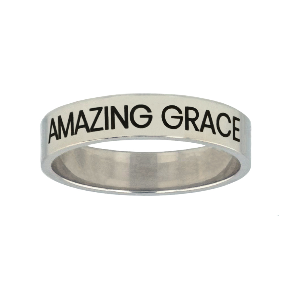 Amazing Grace Silver Flat Narrow Ring christian jewelry,christian ring,silver flat narrow ring,womens ring,christian womens ring