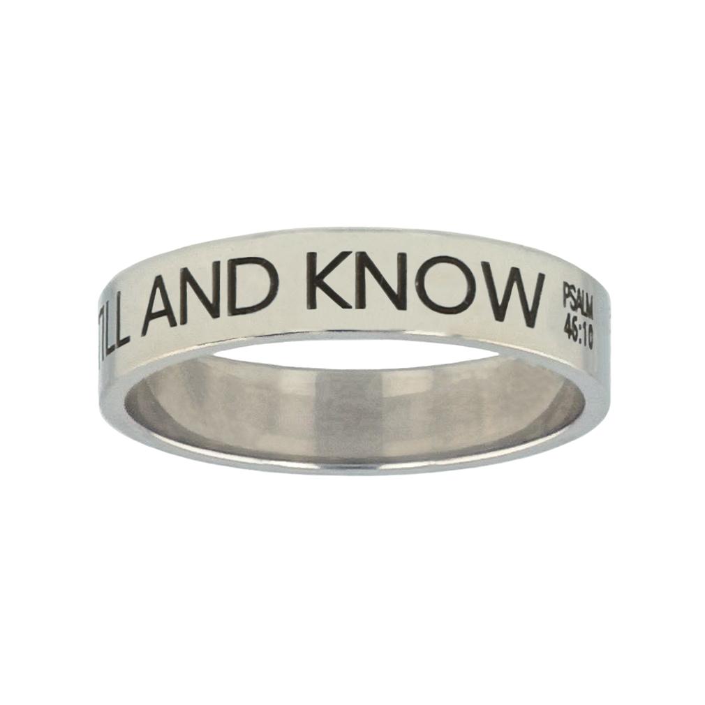 Be Still and Know Silver Flat Narrow Ring - FP-RNGL-BESTILL