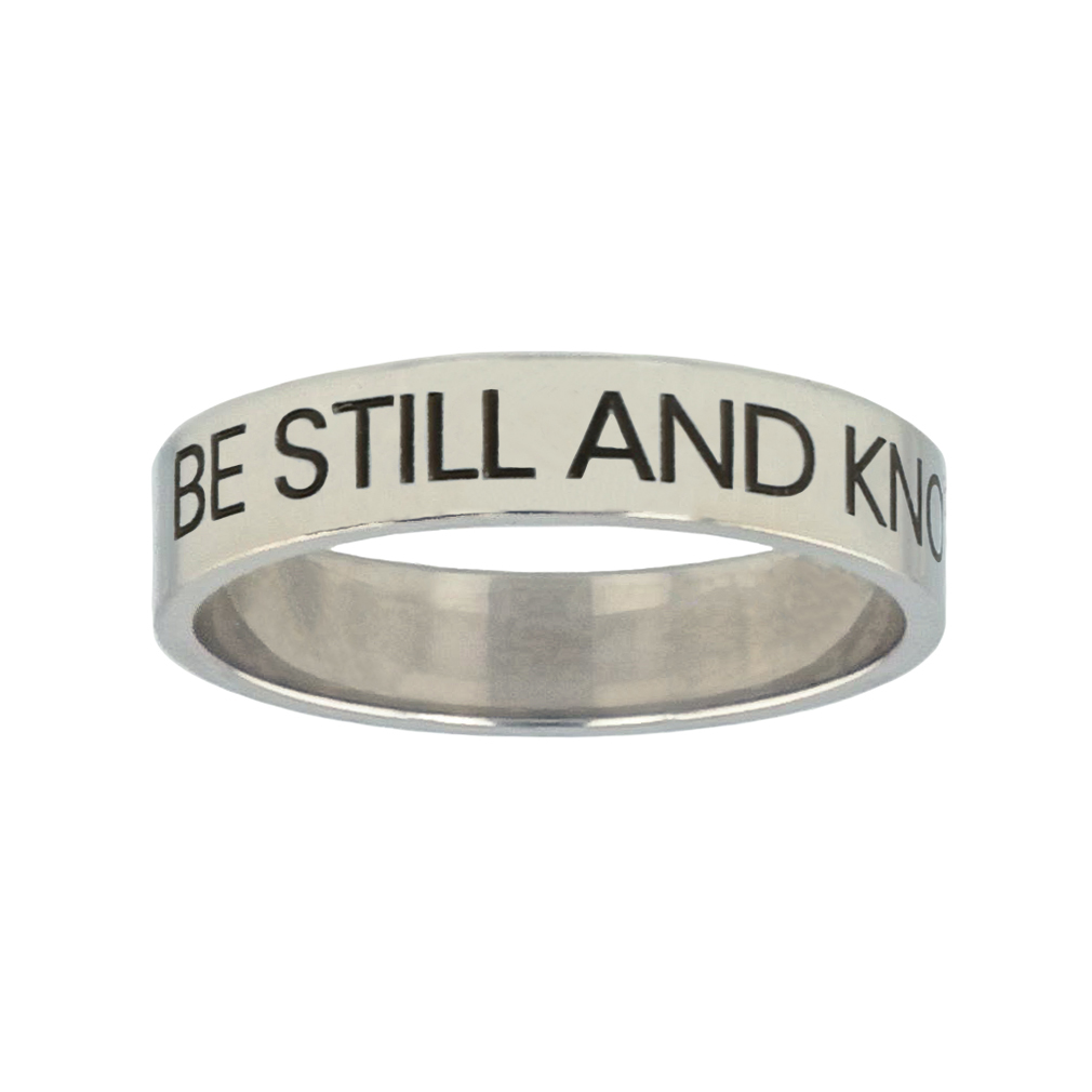 Be Still and Know Silver Flat Narrow Ring christian jewelry,christian ring,silver flat narrow ring,womens ring,christian womens ring
