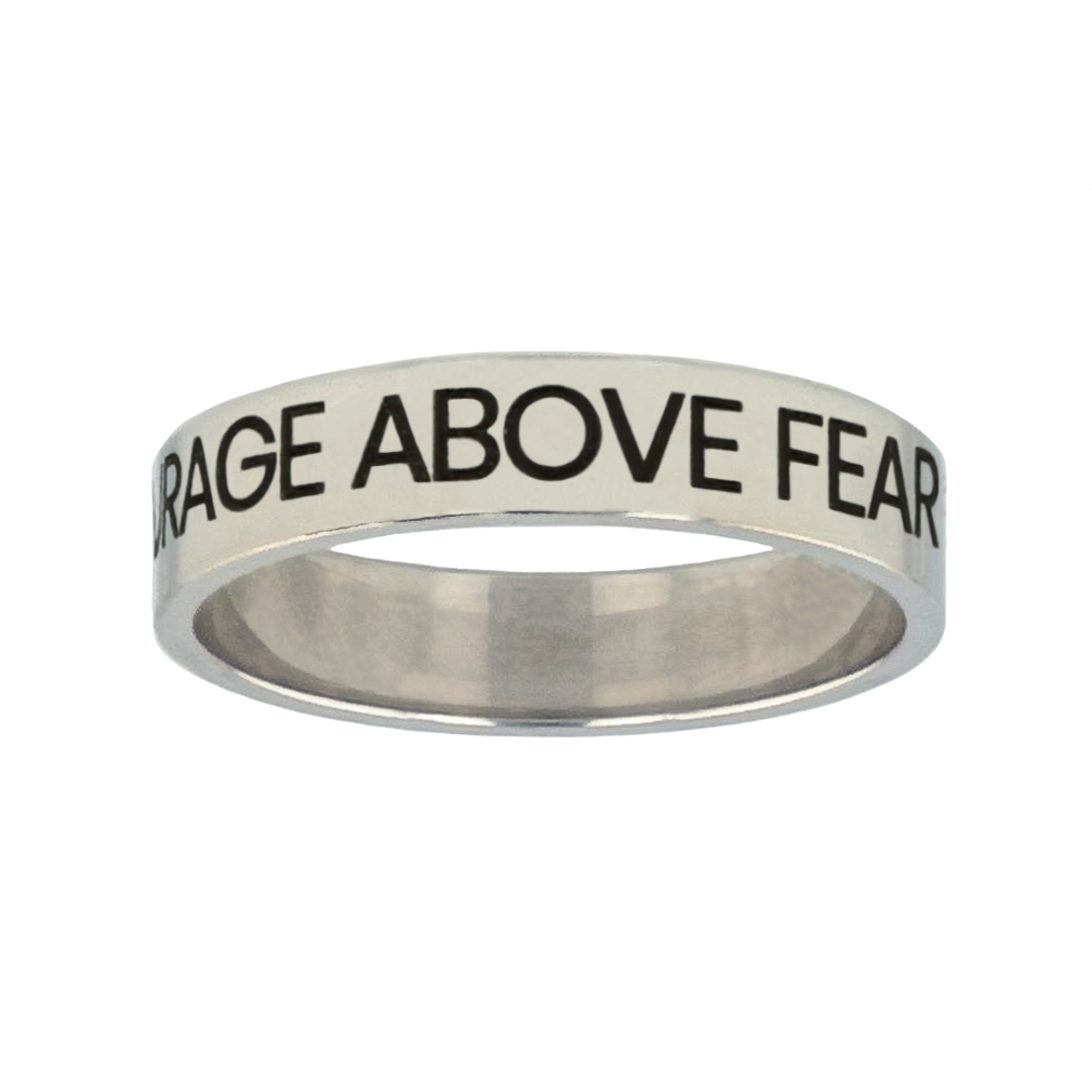 Courage Above Fear Silver Flat Narrow Ring - FP-RNGL-CAB