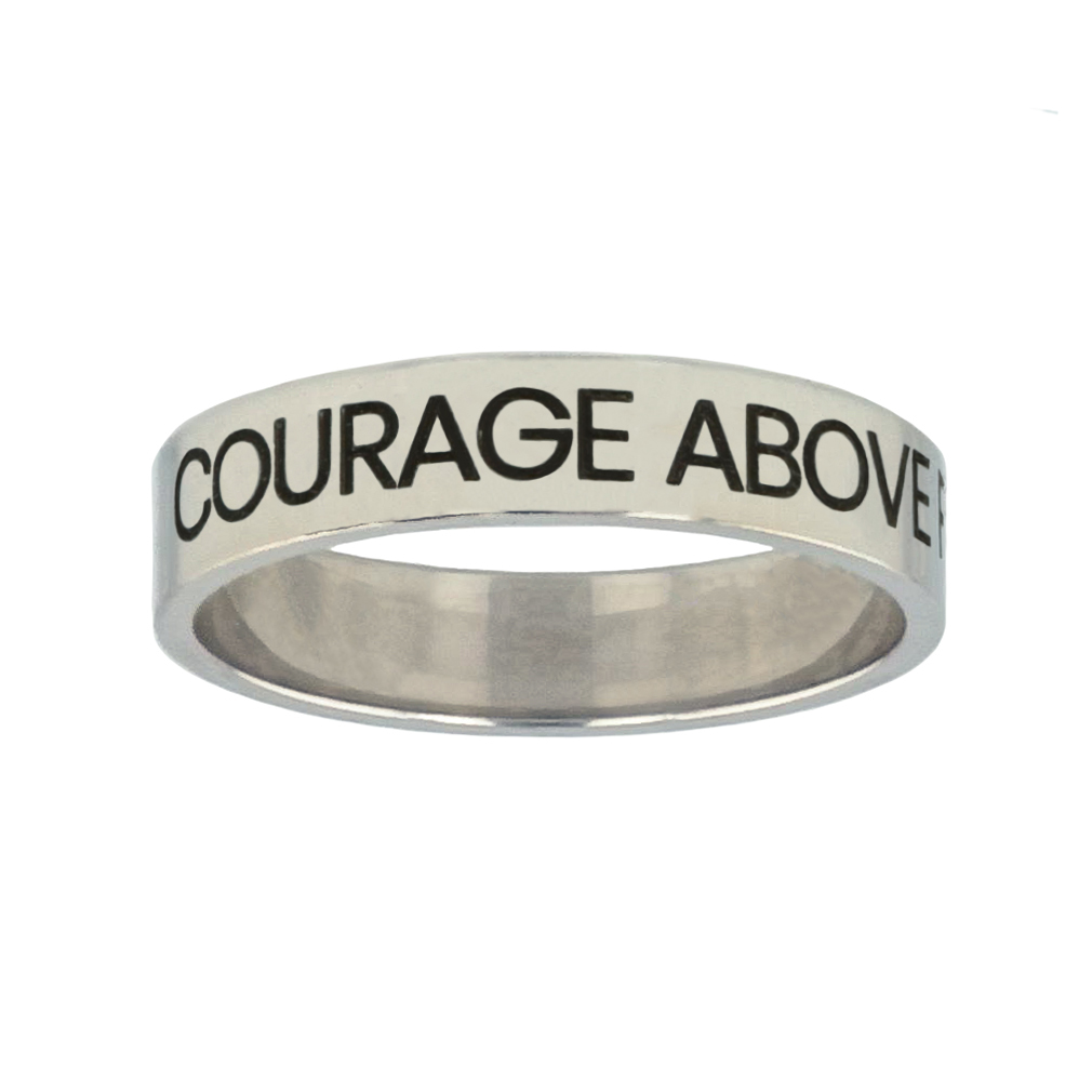 Courage Above Fear Silver Flat Narrow Ring christian jewelry,christian ring,silver flat narrow ring,womens ring,christian womens ring