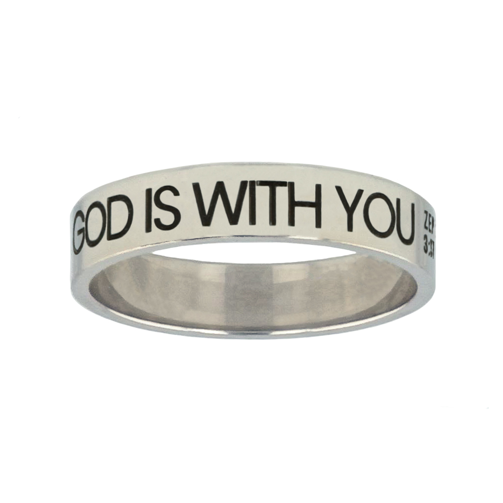 God is With You Silver Flat Narrow Ring christian jewelry,christian ring,silver flat narrow ring,womens ring,christian womens ring