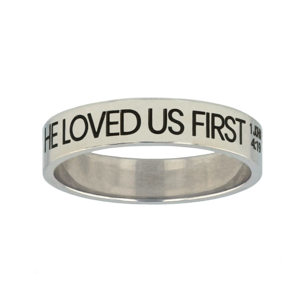 He Loved Us First Silver Flat Narrow Ring christian jewelry,christian ring,silver flat narrow ring,womens ring,christian womens ring