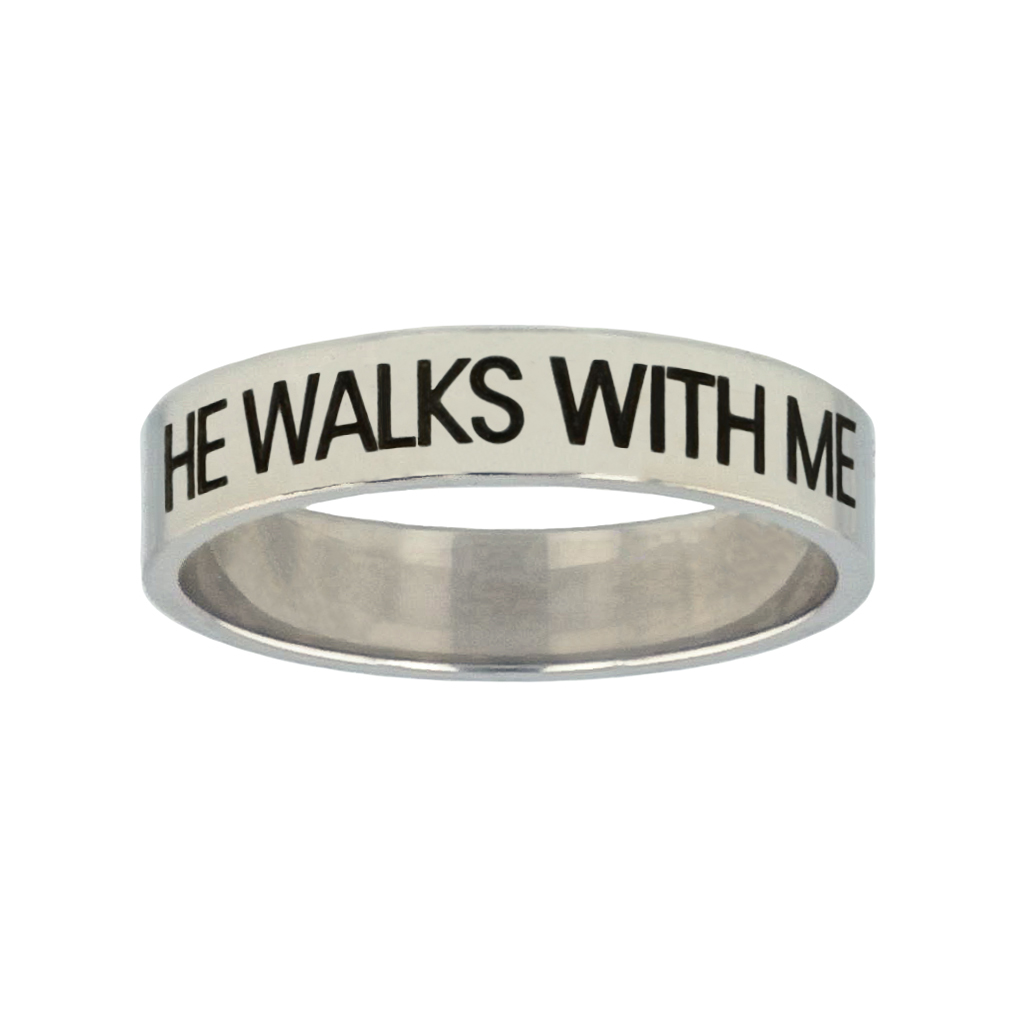 He Walks With Me Silver Flat Narrow Ring christian jewelry,christian ring,silver flat narrow ring,womens ring,christian womens ring