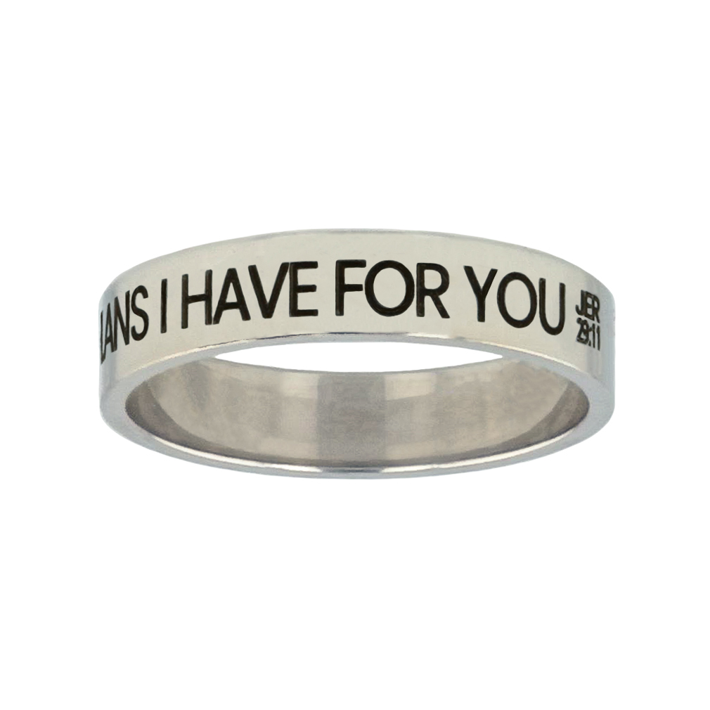 I Know the Plans I Have For You Silver Flat Narrow Ring - LDP-RNGL-IKPLN