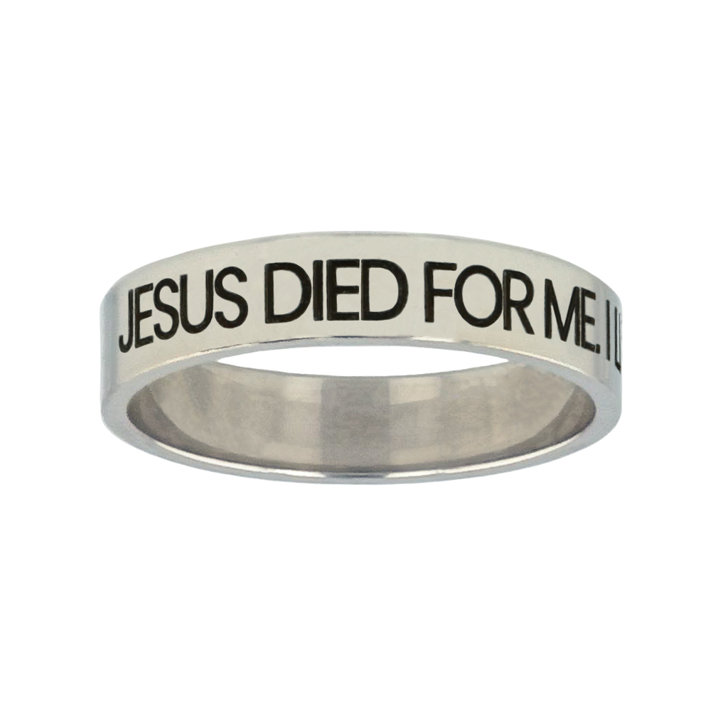 Jesus Died for Me, I Live for Him Silver Flat Narrow Ring christian jewelry,christian ring,silver flat narrow ring,womens ring,christian womens ring