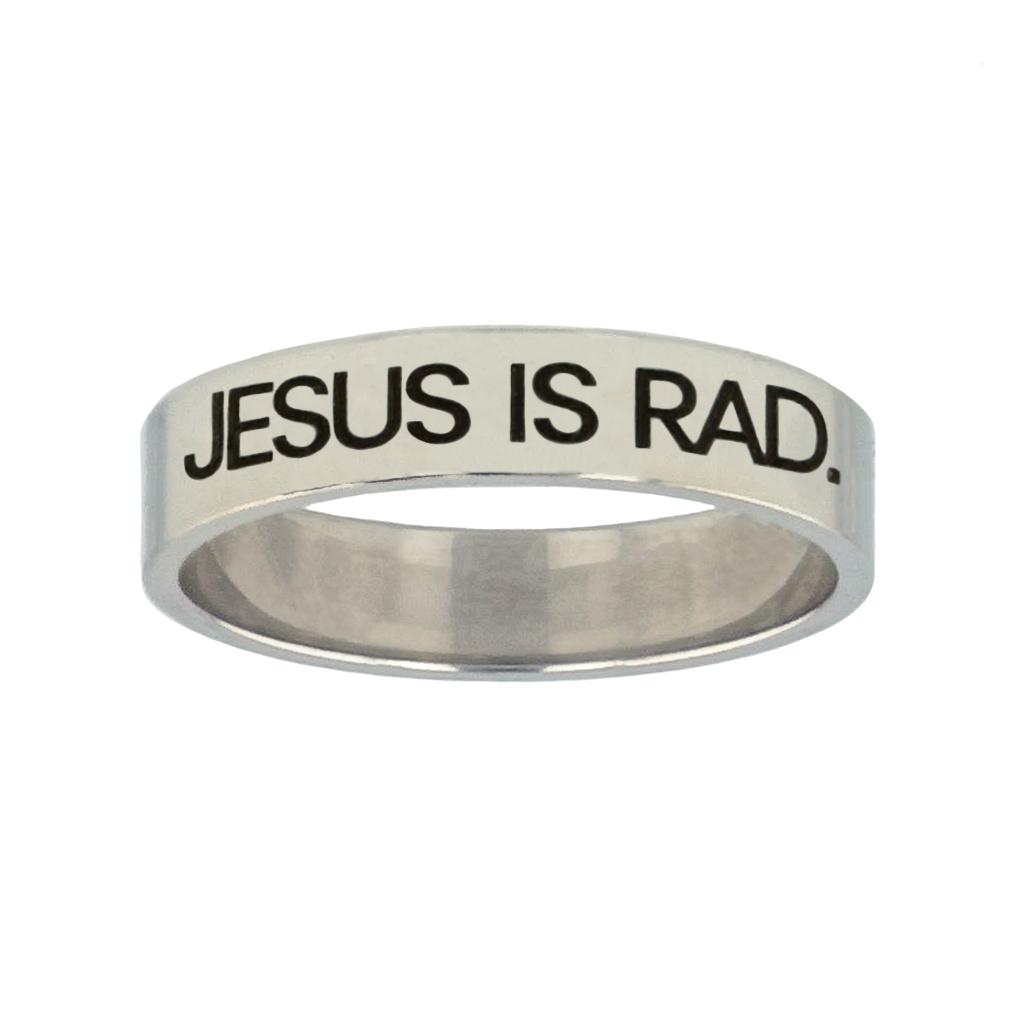 Jesus is Rad Silver Flat Narrow Ring christian jewelry,christian ring,silver flat narrow ring,womens ring,christian womens ring