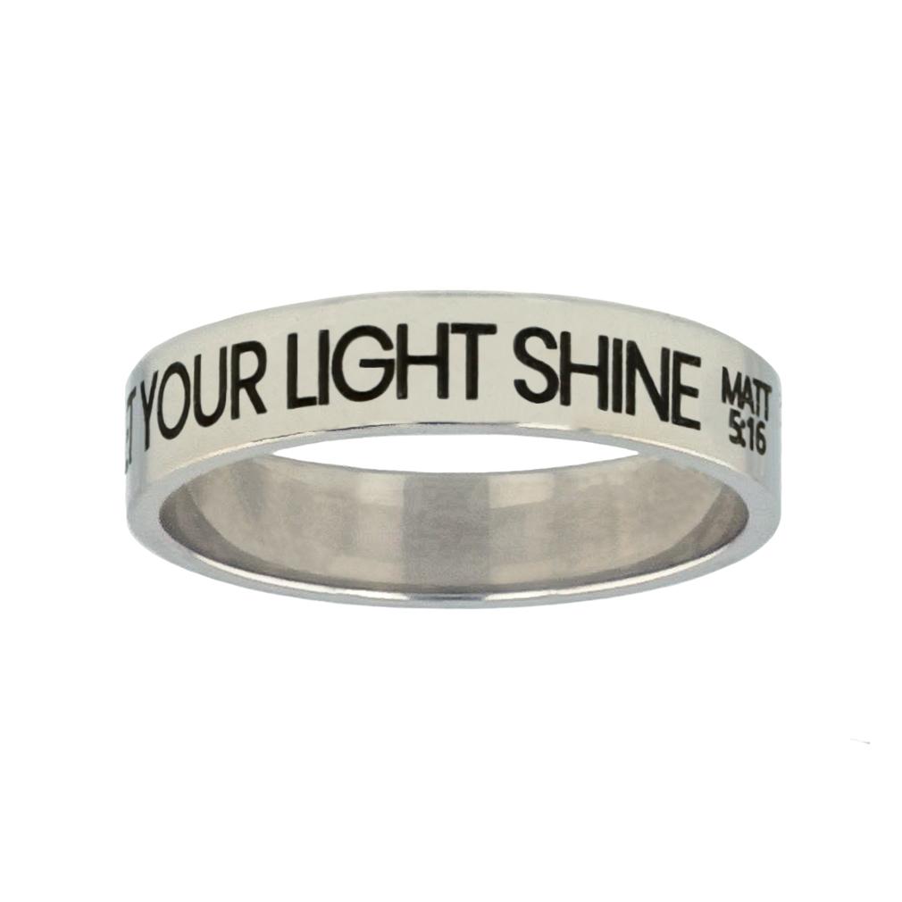 Let Your Light Shine Silver Flat Narrow Ring - LDP-RNGL-LYLS