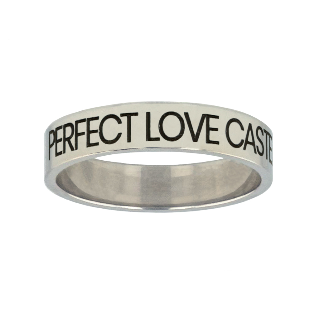 Perfect Love Casteth Out Fear Silver Flat Narrow Ring christian jewelry,christian ring,silver flat narrow ring,womens ring,christian womens ring