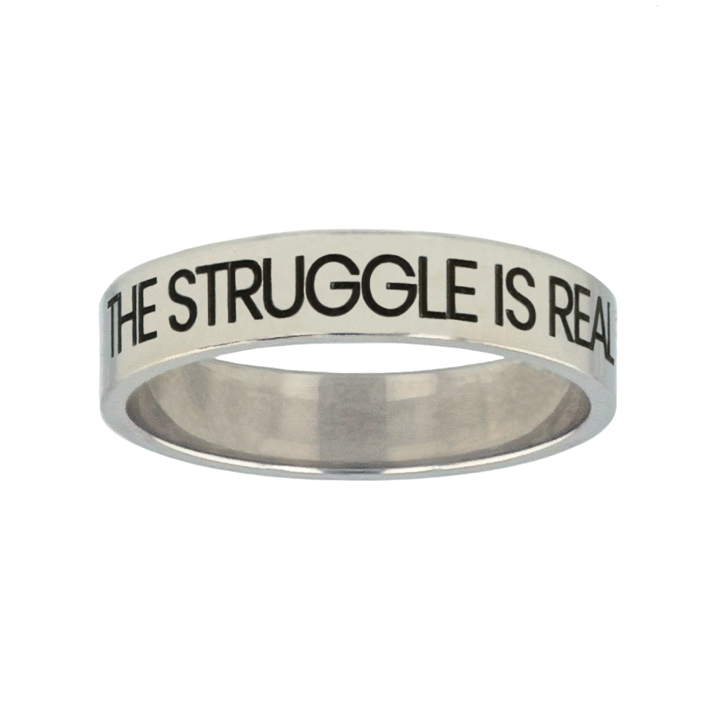 The Struggle is Real but so is God Silver Flat Narrow Ring christian jewelry,christian ring,silver flat narrow ring,womens ring,christian womens ring