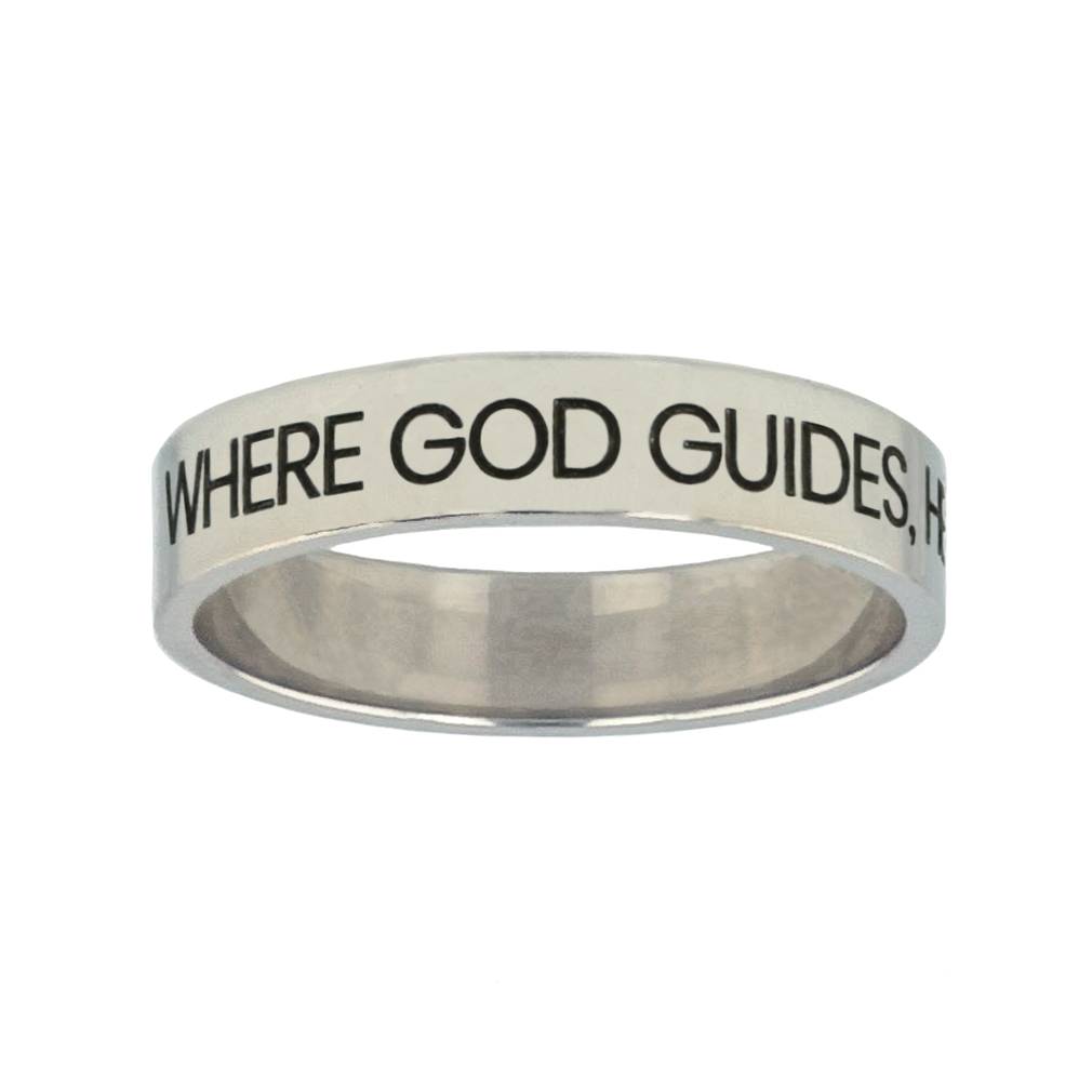 Where God Guides, He Provides Silver Flat Narrow Ring christian jewelry,christian ring,silver flat narrow ring,womens ring,christian womens ring