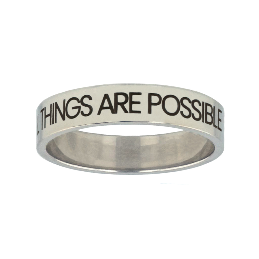 With God All Things Are Possible Silver Flat Narrow Ring - FP-RNGL-WGATP
