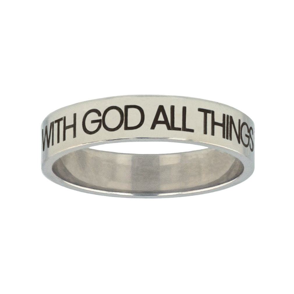 With God All Things Are Possible Silver Flat Narrow Ring christian jewelry,christian ring,silver flat narrow ring,womens ring,christian womens ring