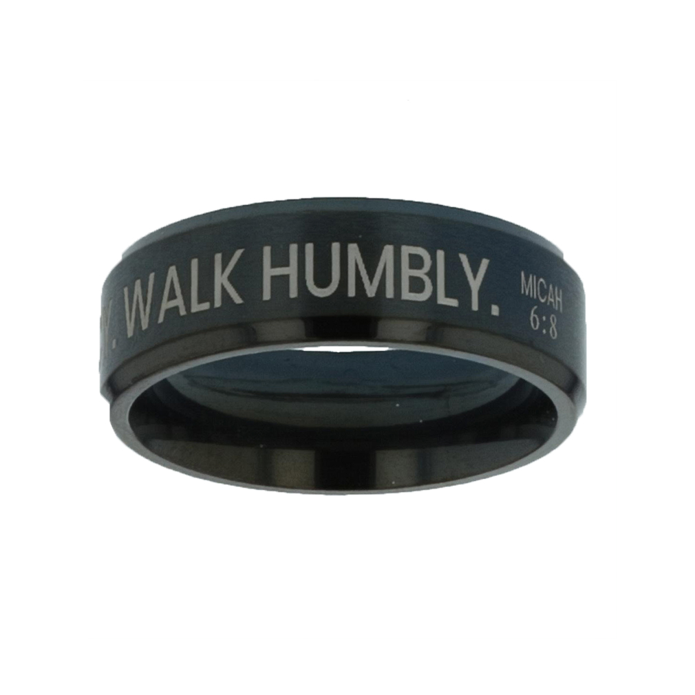 Act Justly. Love Mercy. Walk Humbly. Black Beveled Ring - FP-RNGM-ALW