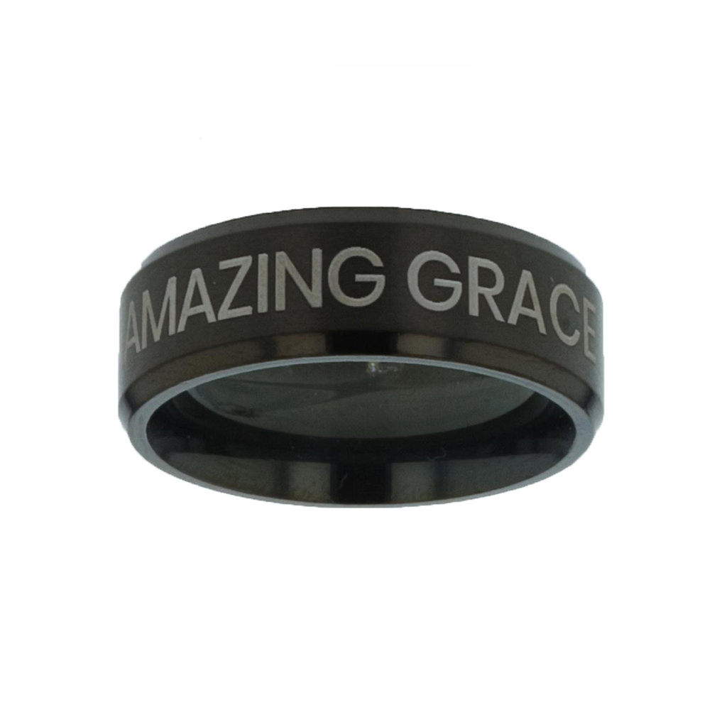 Amazing Grace Black Beveled Ring christian jewelry,christian ring,black beveled ring,mens rings,mens black ring