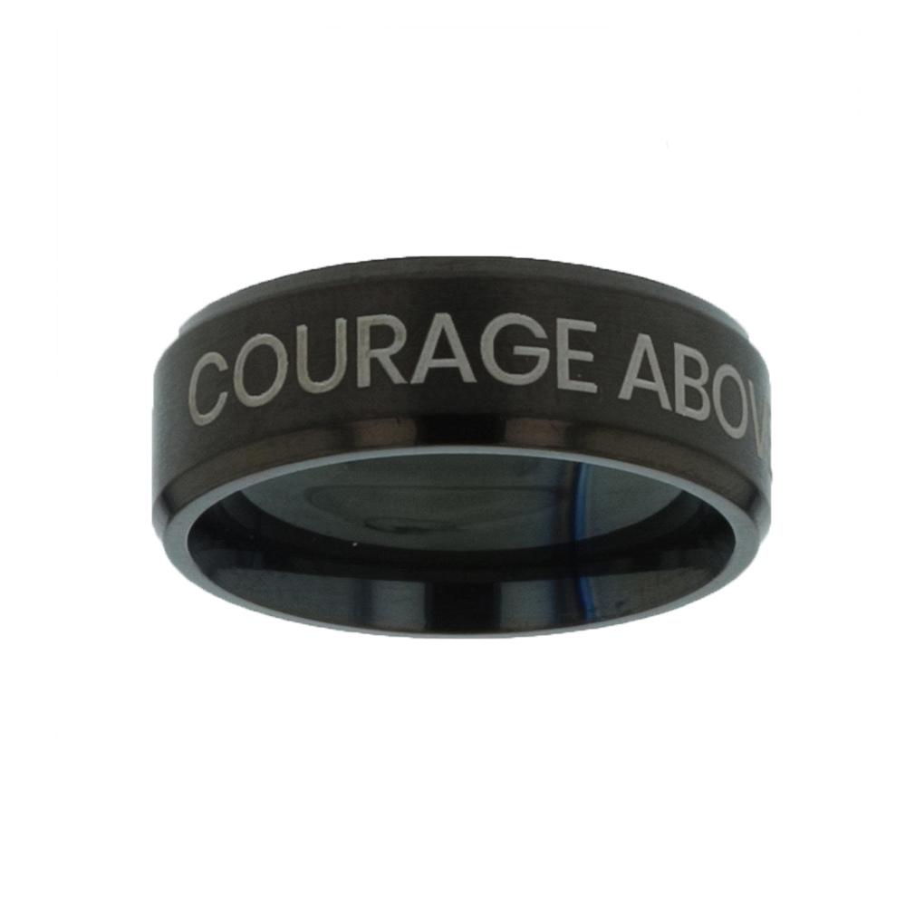 Courage Above Fear Black Beveled Ring christian jewelry,christian ring,black beveled ring,mens rings,mens black ring