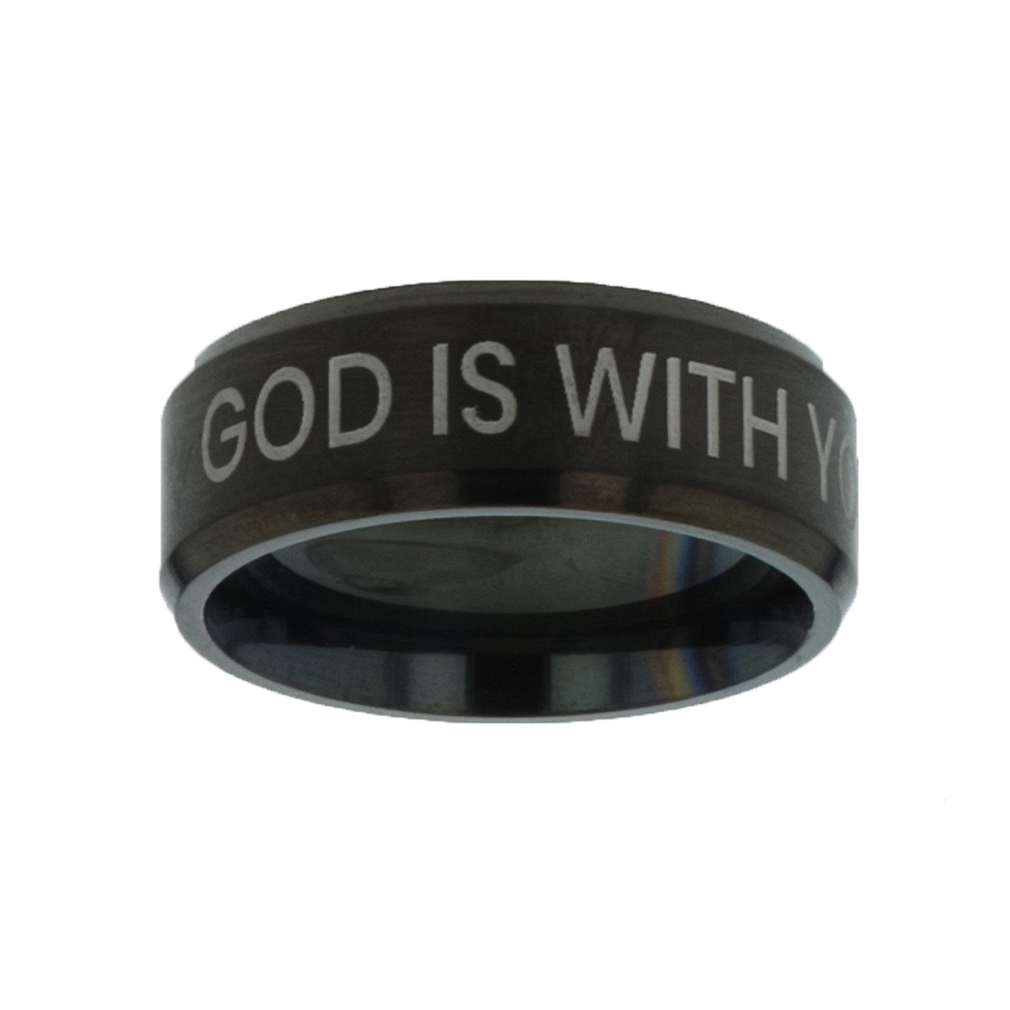 God is With You Black Beveled Ring christian jewelry,christian ring,black beveled ring,mens rings,mens black ring