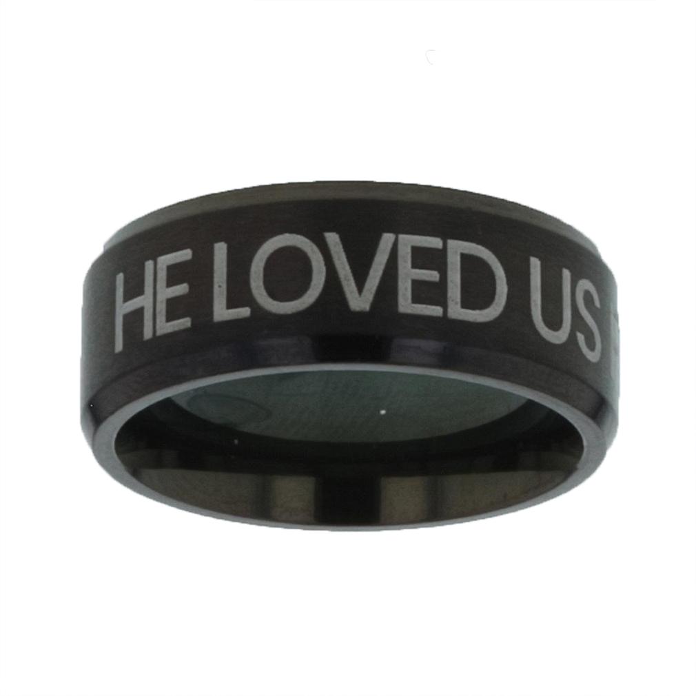 He Loved Us First Black Beveled Ring christian jewelry,christian ring,black beveled ring,mens rings,mens black ring