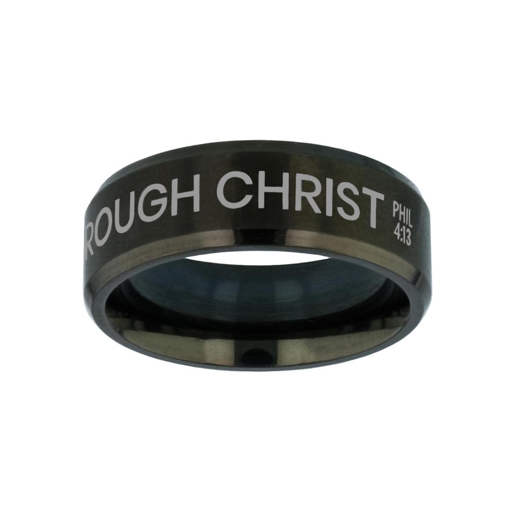I Can Do All Things Through Christ Black Beveled Ring - LDP-RNGM-ICANDO