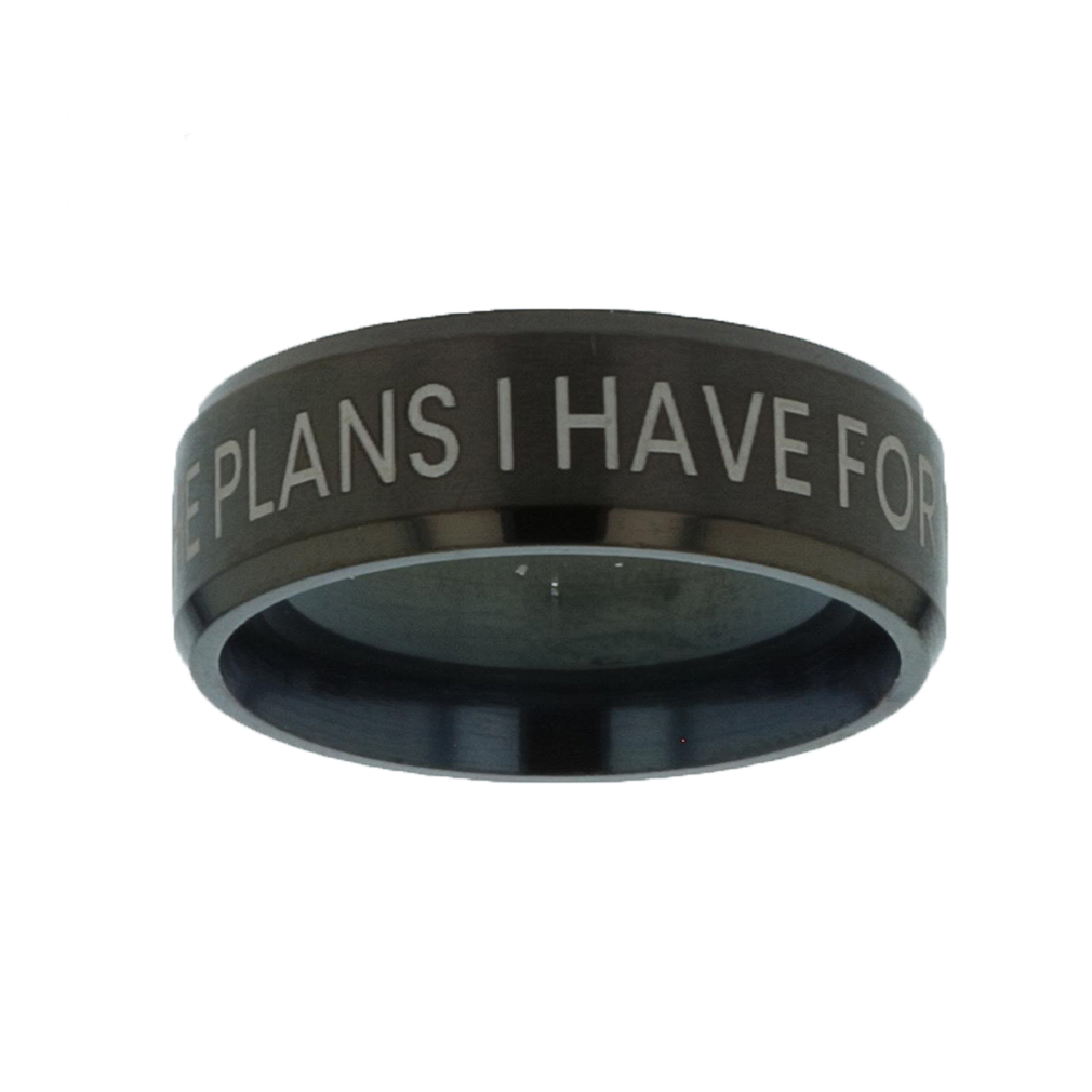 I Know the Plans I Have For You Black Beveled Ring - LDP-RNGM-IKPLN