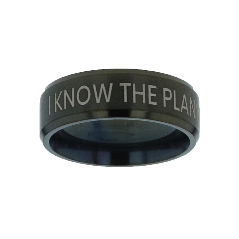 I Know the Plans I Have For You Black Beveled Ring christian jewelry,christian ring,black beveled ring,mens rings,mens black ring