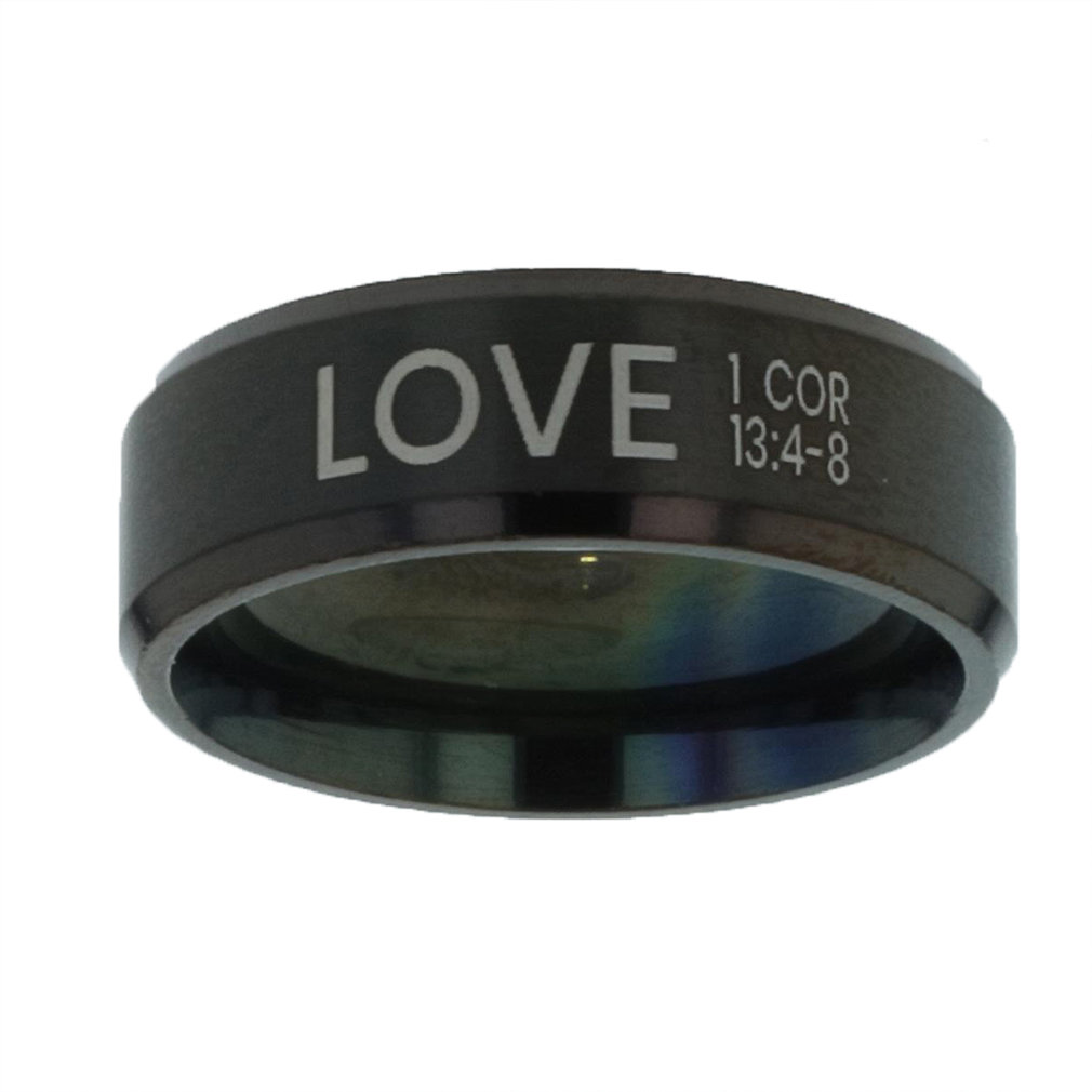 Love Black Beveled Ring christian jewelry,christian ring,black beveled ring,mens rings,mens black ring