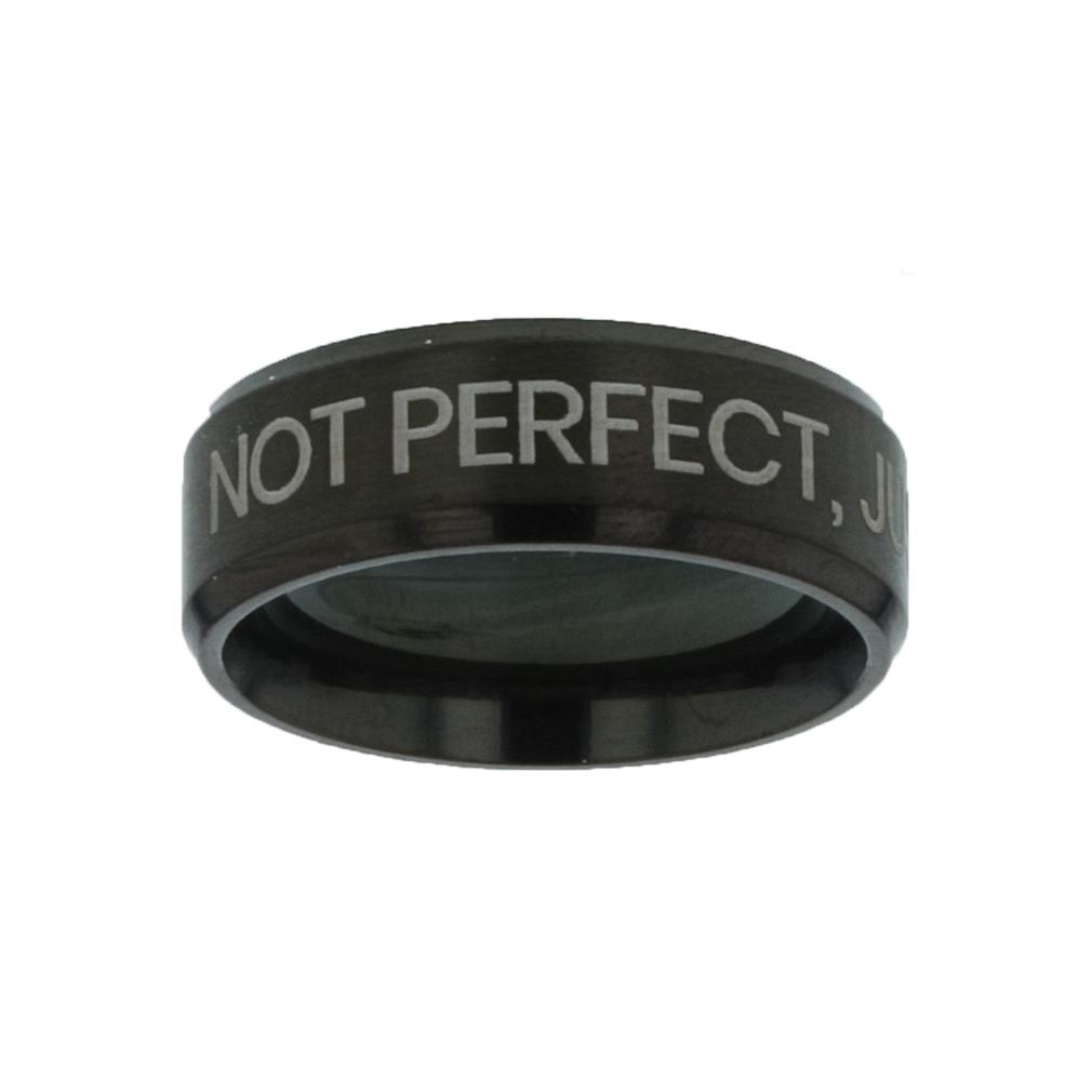 Not Perfect, Just Forgiven Black Beveled Ring christian jewelry,christian ring,black beveled ring,mens rings,mens black ring