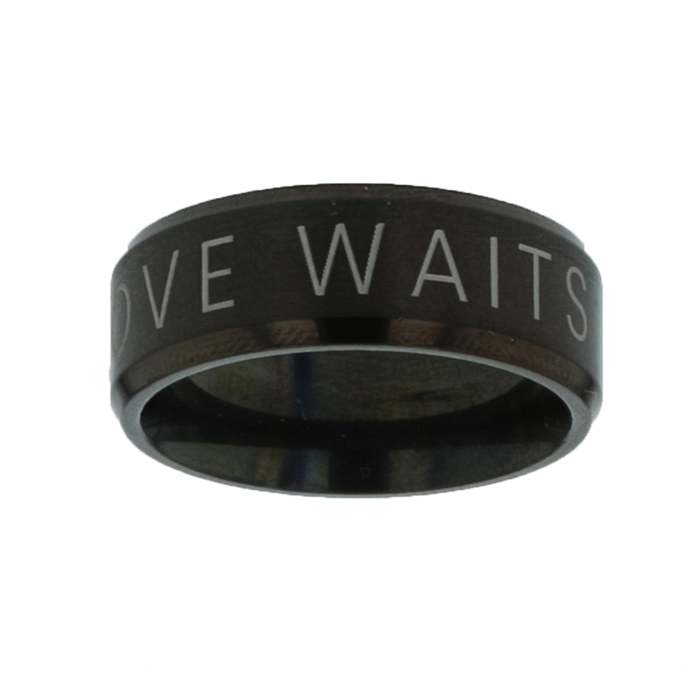 True Love Waits Black Beveled Ring - LDP-RNGM-TLW