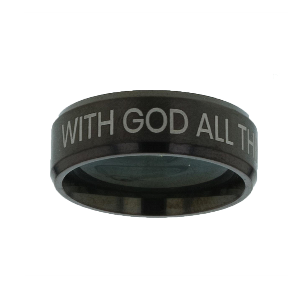 With God All Things Are Possible Black Beveled Ring christian jewelry,christian ring,black beveled ring,mens rings,mens black ring