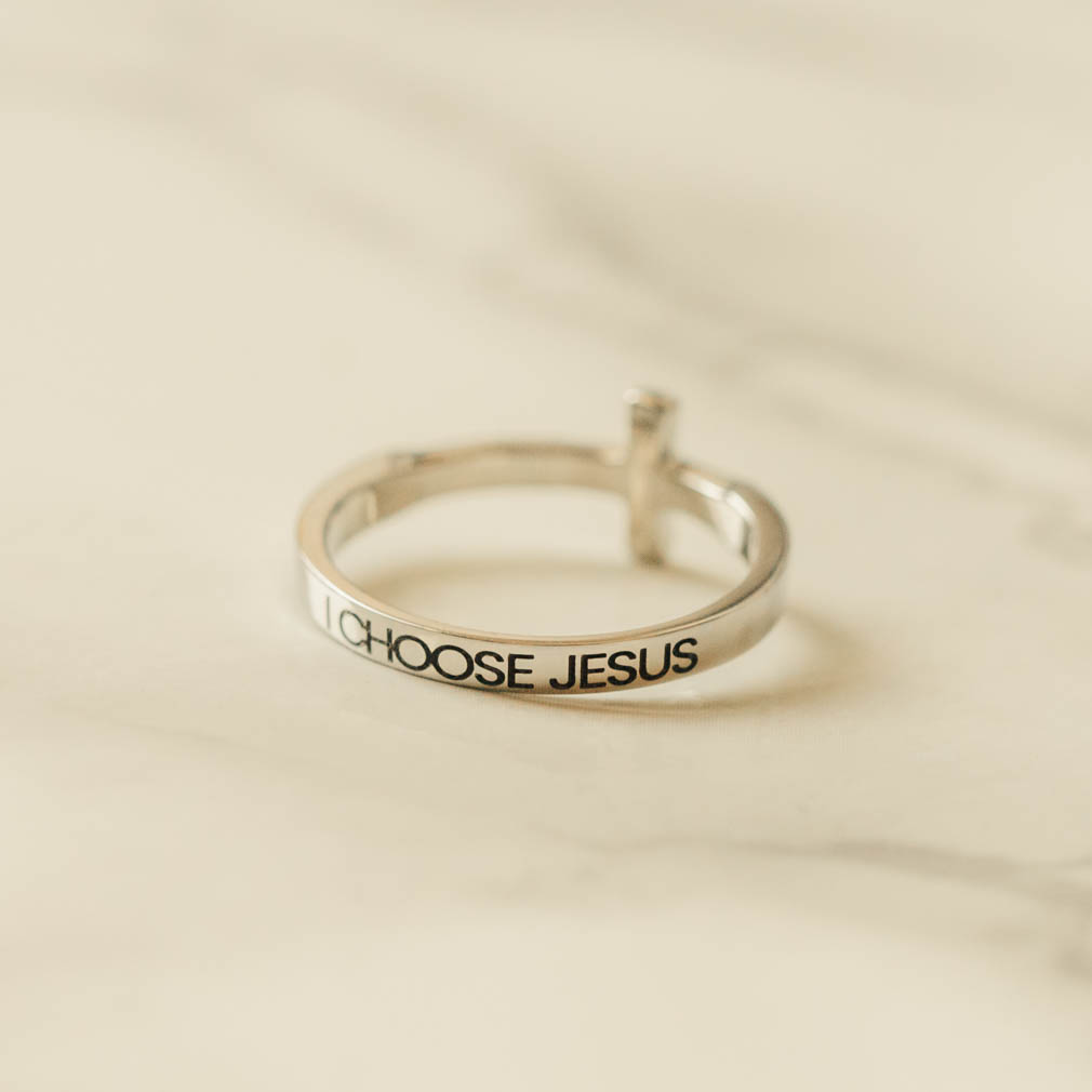 I Choose Jesus Rhinestone Cross Ring - ST-SWC-ICJ