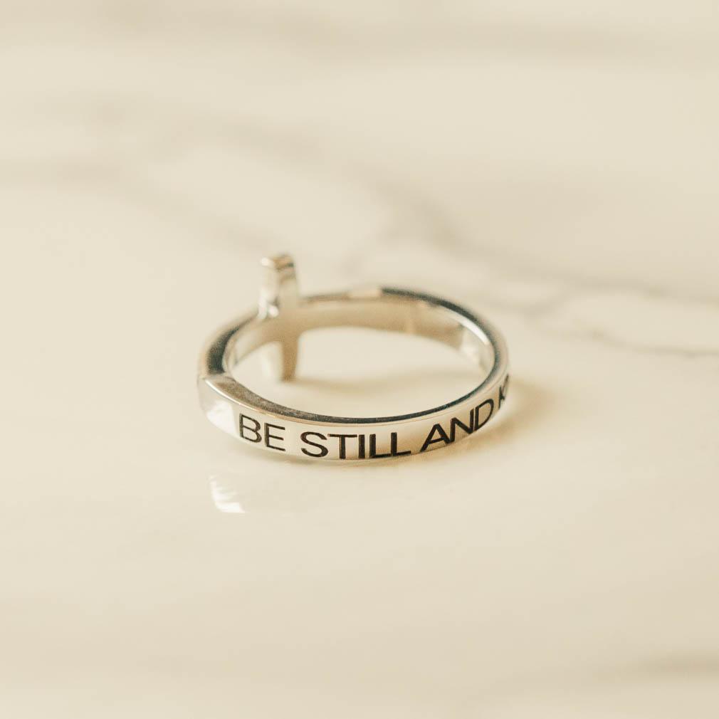 Be Still and Know Rhinestone Cross Ring - ST-SWC-BESTILL