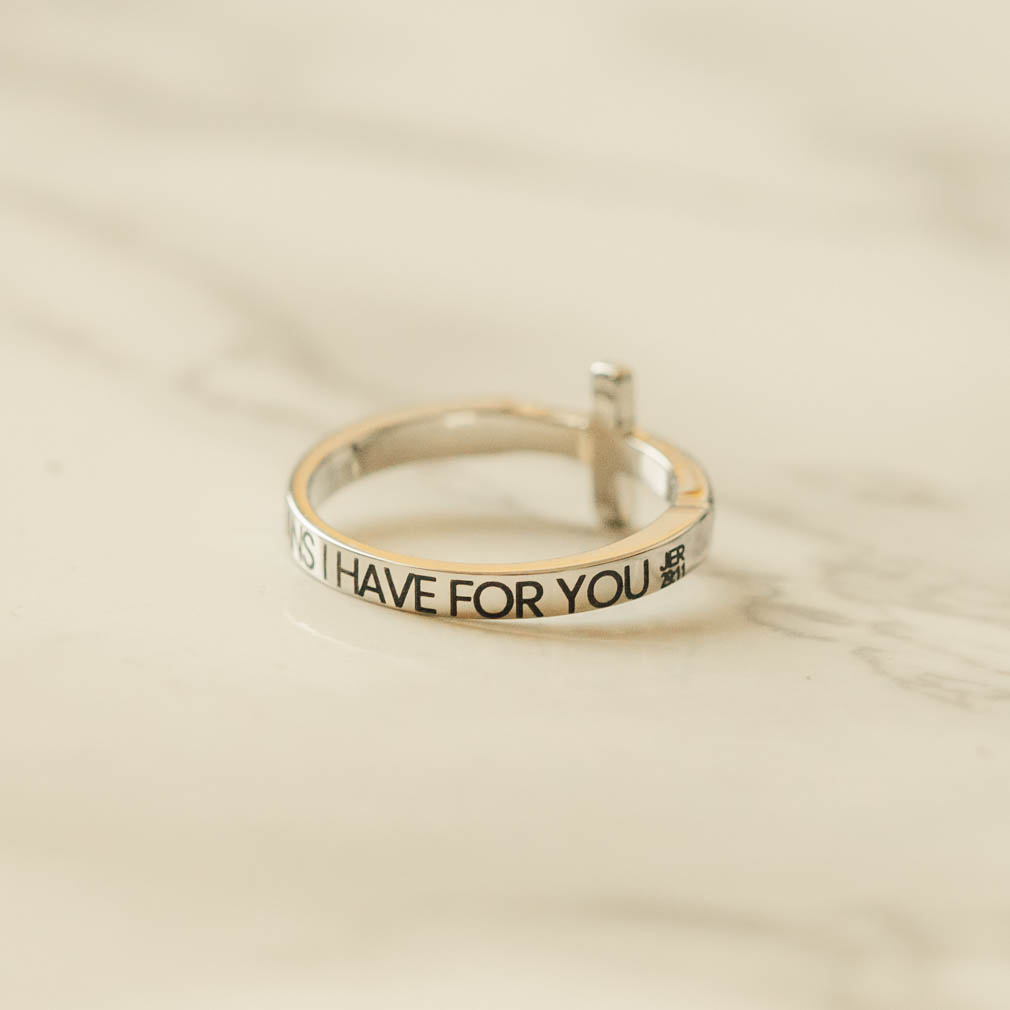 I Know the Plans I Have For You Rhinestone Cross Ring - ST-SWC-IKPLN