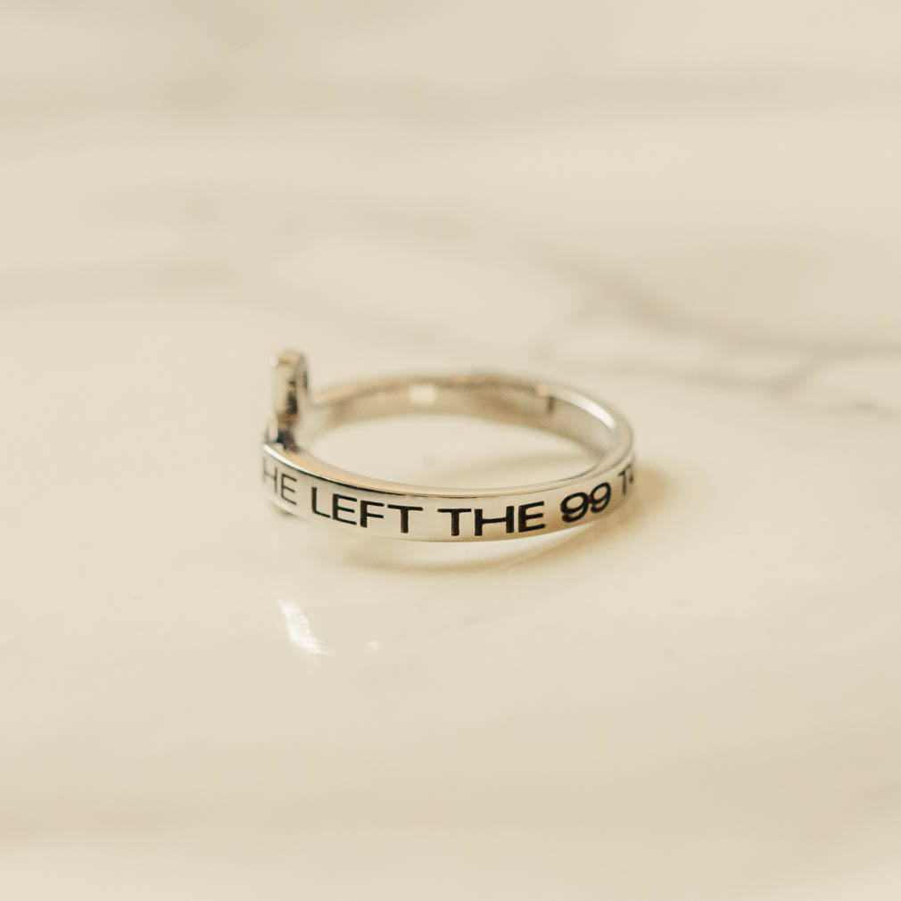He Left the 99 to Find Me Rhinestone Cross Ring - ST-SWC-99FINDME