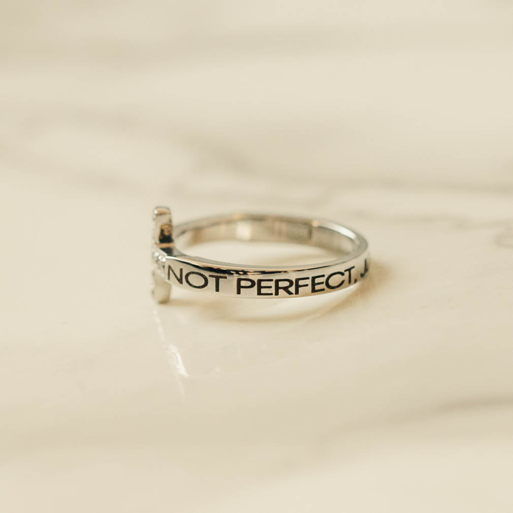 Not Perfect, Just Forgiven Rhinestone Cross Ring - ST-SWC-NOTPERF