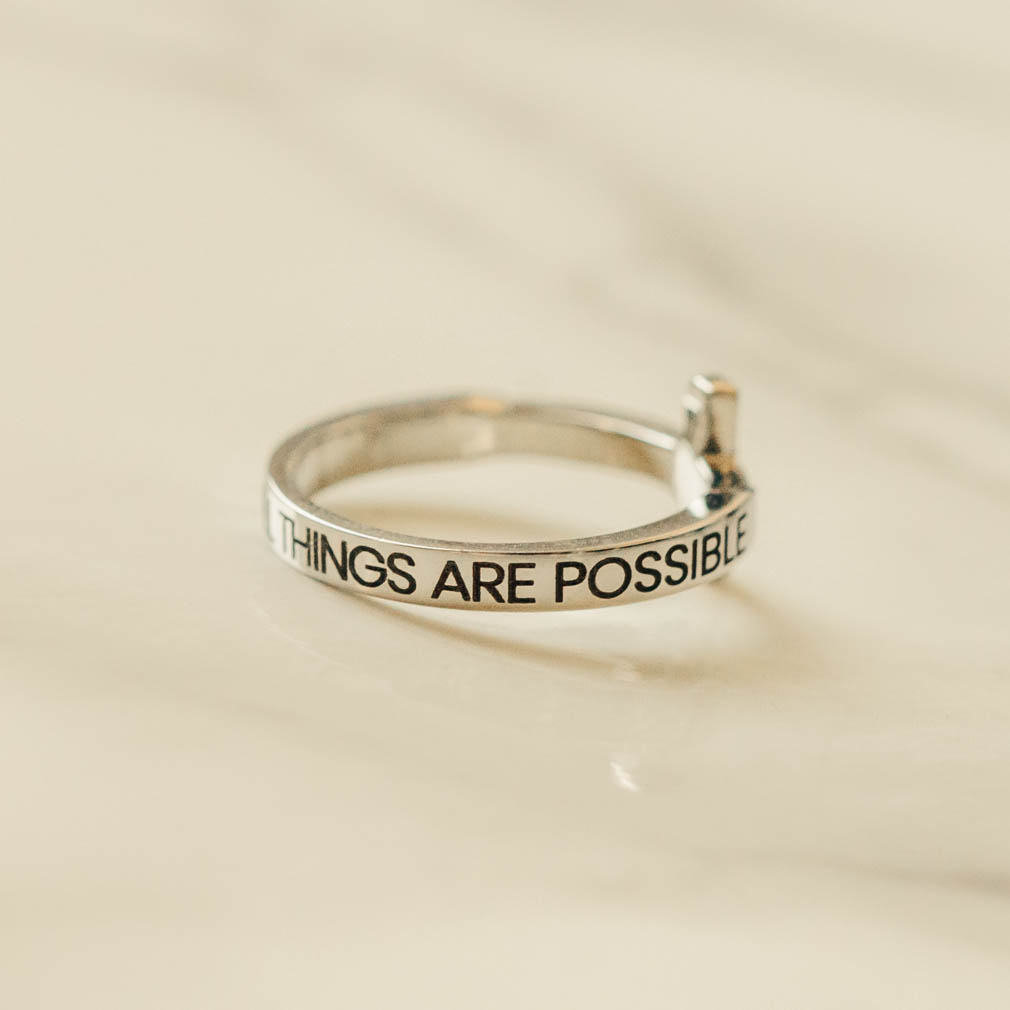 With God All Things Are Possible Rhinestone Cross Ring - ST-SWC-WGATP