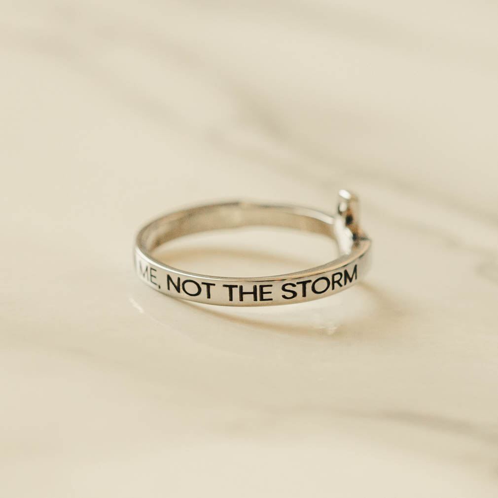 Focus on Me, Not the Storm Rhinestone Cross Ring - ST-SWC-FMNS