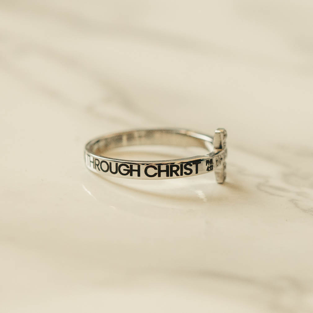 I Can Do All Things Through Christ Rhinestone Cross Ring - ST-SWC-ICANDO