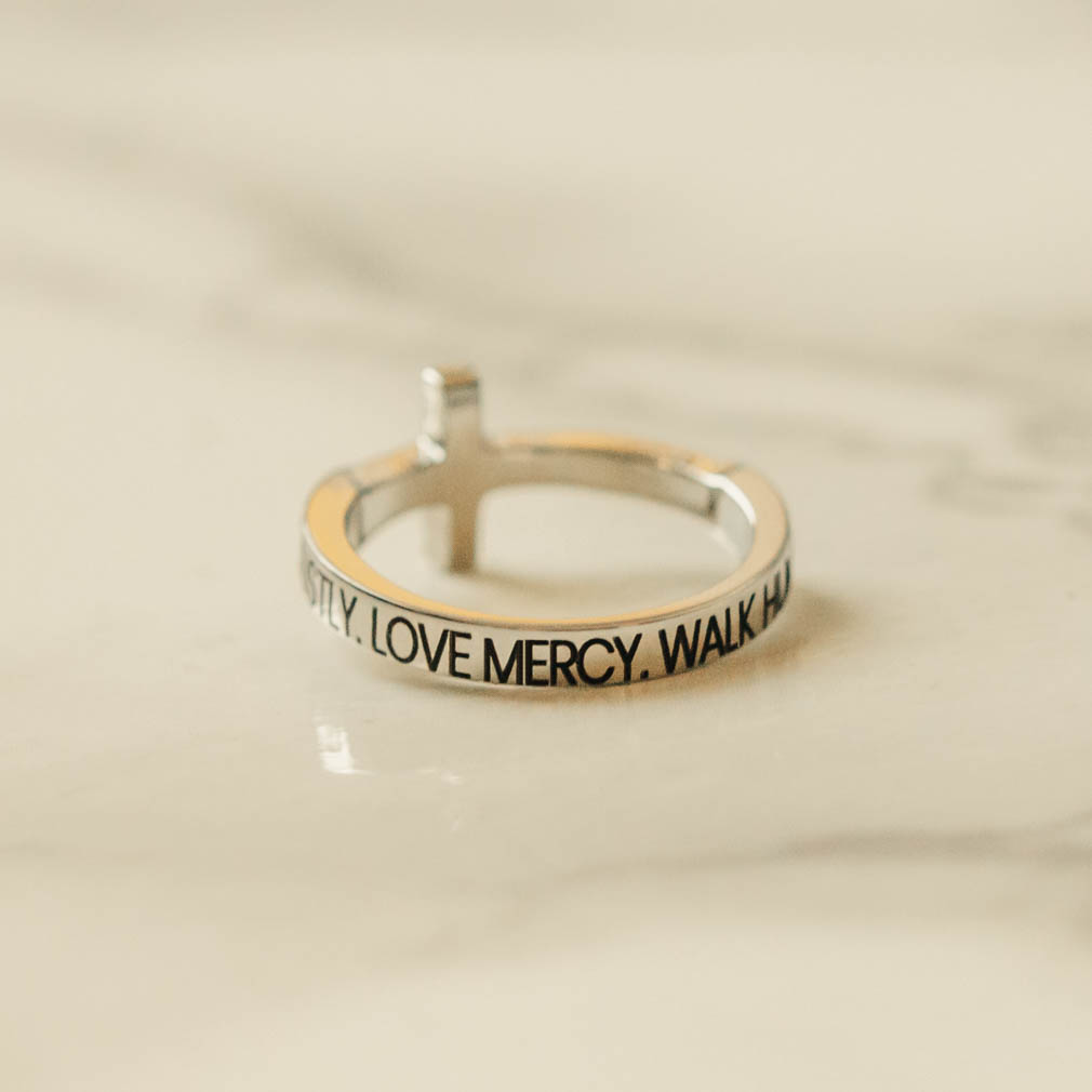 Act Justly. Love Mercy. Walk Humbly. Rhinestone Cross Ring - ST-SWC-ALW