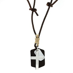 Flat Cross Leather Necklace