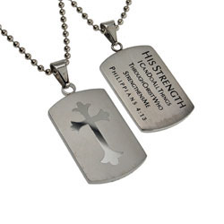 His Strength Shield Cross Necklace